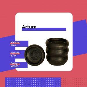 M5300 Maceta Artura Barro Replanto Negro